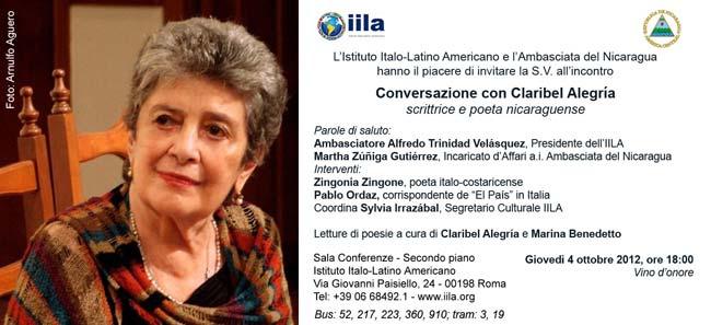Invito all'incontro 'Conversazione con Claribel Alegria'